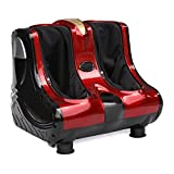 Zeny Shiatsu Kneading Rolling Vibration Heating Foot Leg Calf Massager Personal Health Studio Leg Beautician, Red