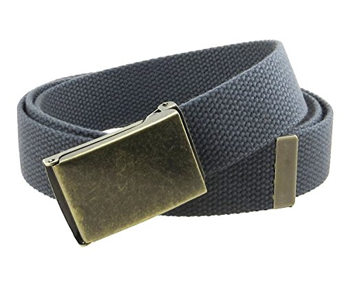 "Canvas Web Belt Flip-Top Antique Brass Buckle/Tip Solid Color 50"" Long (Charcoal)"