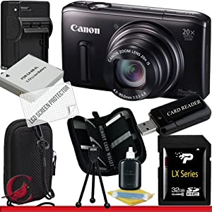 Canon PowerShot SX260 HS Digital Camera (Black) 32GB Package 3