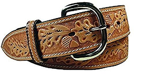 Tahoe Tack Tapered USA Leather Acorn Tooled Western Belt with Replaceable Buckle 38""