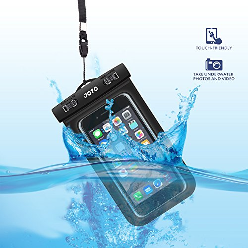 "Joto Universal Waterproof Case for Apple iPhone 6S, 6,6S Plus, 5S, Samsung Galaxy S7, S6 Note 5, 4, HTC, LG, Sony, Nokia, Motorola up to 6.0"" Diagonal - Black"