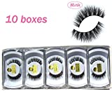 Wholesale 10 boxes/lot 100% Real Mink Hair Messy Cross False Eyelashes 3D Wispy Fake Eye Lashes MY-014 (Color: Black)