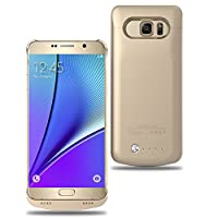 ALCLAP Galaxy Note 5 Battery case Charging Battery-4200mAh Extended Backup Battery-Charger Cover Case-Rechargeable Power Bank Case for Samsung Galaxy Note5 (Gold) from ALCLAP