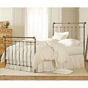 56e1602cc [3] Iron & Brass Sleigh Bed Vintage White By Charles P. Rogers Full Bed  High Footboard Antique Brass Bed Frame