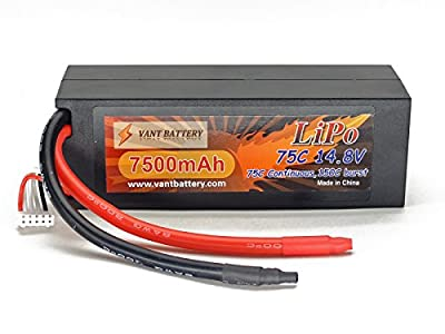 14.8V 7500mAh 4S Cell 75C-150C HardCase LiPo Battery Pack w/ 8AWG Wire Discharge Leads (No Plug)