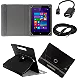 ECellStreet 360° Degree Rotating 7 Inch Flip Cover Diary Folio Case With Stand For Iball 3G Q45 - Black + Free...