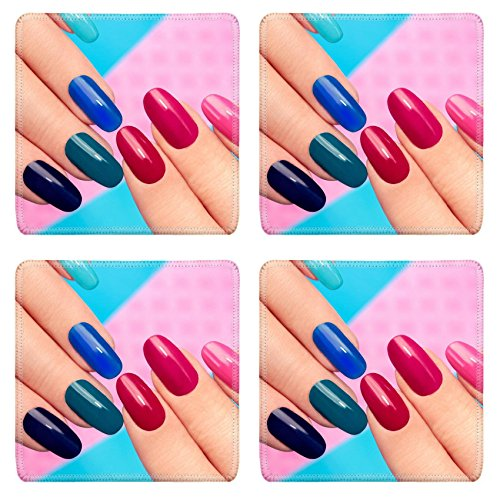 Luxlady Natural Rubber Square Coaster IMAGE ID: 34380886 Blue pink nail Polish on long nails on a colored background (Maroon Colored Nail Polish compare prices)