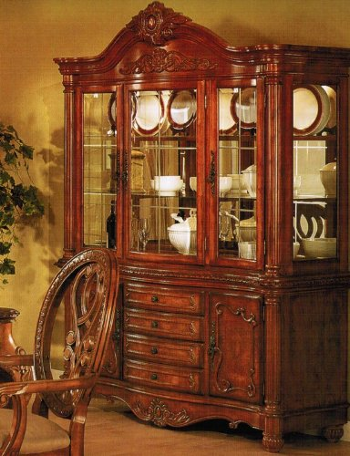 Cheap China Cabinet Buffet Hutch – Traditional Cherry Brown Finish (VF_F6059)