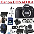 "Canon EOS 6D Digital SLR Camera Body Kit + Deluxe Camera Sling Z-Bag + 64GB High Speed Pro Memory Card + High Power Battery Grip + Professional 58"" Tripod + 2 Pack Commanders LP-E6 Replacement Battery + Commander AC/DC Travel Charger + Wireless Remote + P"
