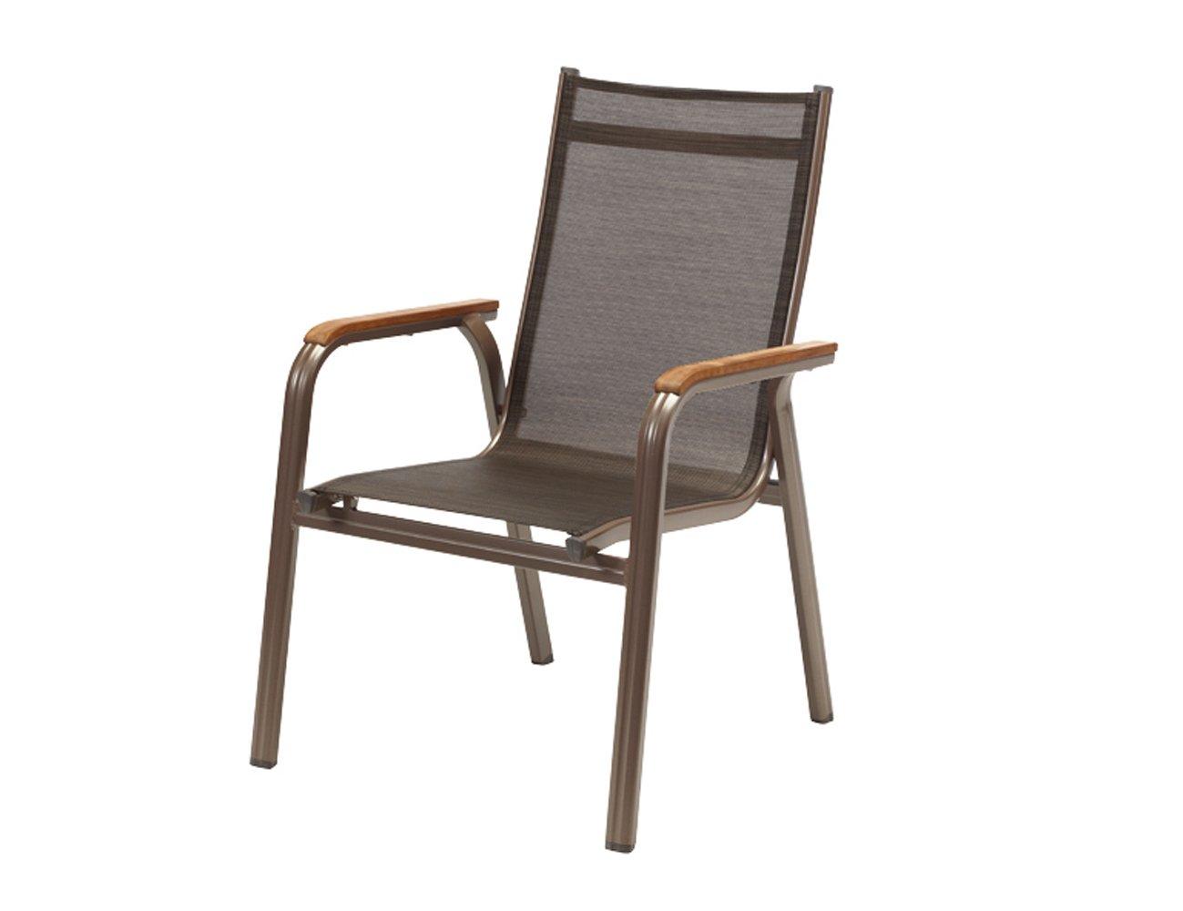 Kettler 0301202-2100 Stapelsessel Granada, Aluminiumprofil bronze, Textilbespannung mocca, Armlehnen Teakholz, 69 x 66 x 98 cm