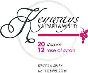2012 Keyways Vineyard and Winery Rose of Syrah, Temecula Valley 750 mL