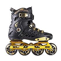 Kuxuan Adults Unisex RS1 ABEC-7 Bearings Golden Purple Freestyle Slalom Urban Inline Skates Black Gold 44