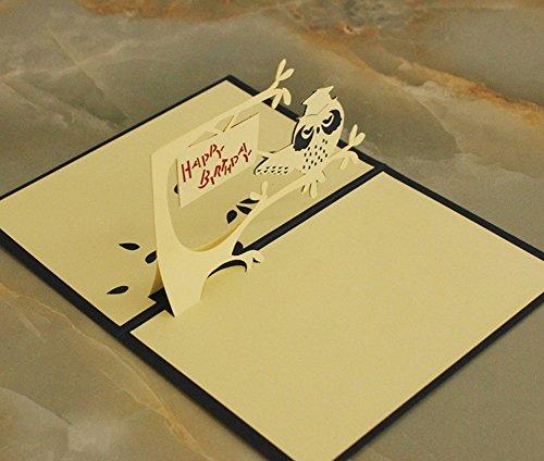 made4u kirigami carta 3d pop up scheda compleanno, anniversario Pasqua Halloween festa della mamma NUOVA CASA festa del nuovo anno San Valentino Matrimonio Natale Scheda Owl Blue