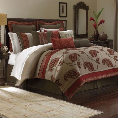 4-Pc Bombay Bali Paisley Embroidery Queen Comforter Set Burgundy Red Beige Brown front-975454