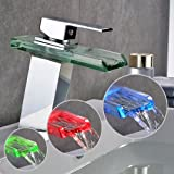 Auralum LED Conception moderne verre chute d'eau de robinet à levier unique robinet de bain robinet d'évier de cuisine et salle de bains couleur RGB