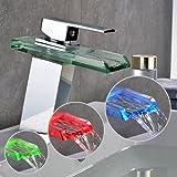 Auralum� Grifo de Lavabo Grifo Moderno Cascada Ba�o LED RGB Cambio Color (tres colores) Cromo Plateada Lat�n y Cristal Dise�o Elegante