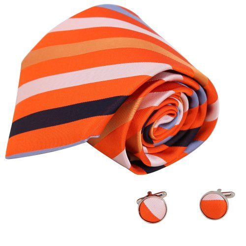 A1037 Orange Red Brown Stripes Shop Presents Idea Mens Fashion For Party Silk Tie Cufflinks Set 2PT By Y&G