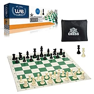 "Tournament Style Chess Set with Green Tournament Roll-up Chessboard with 2.25"" Square"