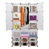 C&AHOME -12 Cubes Clothes Closet, Wardrobe Semitransparent, 35X35cm Deep