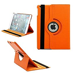 TGK 360 Degree Rotating Leather Case Cover Stand For iPad Air 2, iPad Air 6 - Orange
