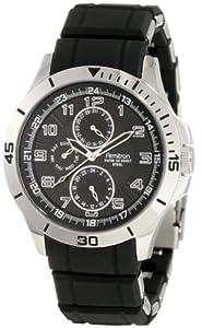 Armitron Men's 20/4782BKSV Resin Wrapped Stainless-Steel Bracelet Black Dial Multi-Function Silver-Tone Watch
