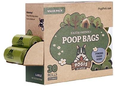 Pogi's Poop Bags - Large, Earth-Friendly, Scented, Leak-Proof Pet Waste Bags