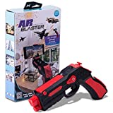 AR BLASTER Augmented Reality 360° VR Portable Gaming Gun: Wireless Bluetooth Controller Toy Pistol for iOS iPhone and Android Smartphone | FREE App 35+ Games Action & Lerning, w/ Joystick (RED) (Color: Red)