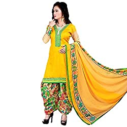 Meera Women's Cotton Unstitched Dress Material (PB7_Yellow)