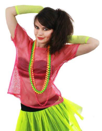 Neon Fishnet Mesh Top for 80s, Punk  Dress-Up. Neon Pink - One Size