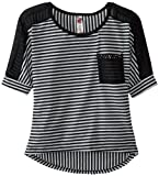 Beautees Girls 7-16 Striped Chiffon High-Low with Solid Pocket, Black, X-Large