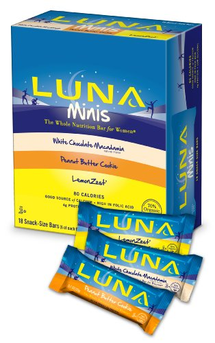 Luna Bar Mini Variety Pack-6 Lemon Zest, 6 White Chocolate Macadamia, 6 Peanut Butter Cookie, 18 -Count Box