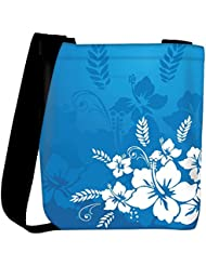 Snoogg Abstract Vector Wallpaper Of Floral Themes In Blue Womens Carry Around Cross Body Tote Handbag Sling Bags