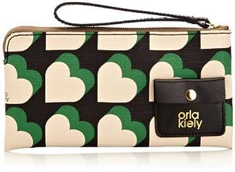 Orla Kiely Textured Vinyl Flat Zip Purse Wallet,Emerald,One Size