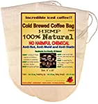 (2 Pack) Reusable Cold Brew Coffee Filter 6.5 x 10 inches - FULL TASTE - NO HARMFUL CHEMICAL IN YOUR COLD BREW COFFEE OR YOUR DRIP COFFEE ANYMORE. - Pure Hemp Fabric - Best Choice Safety Health - Fine Mesh Strainer for Cold Brewed Iced Coffee - Food Grade