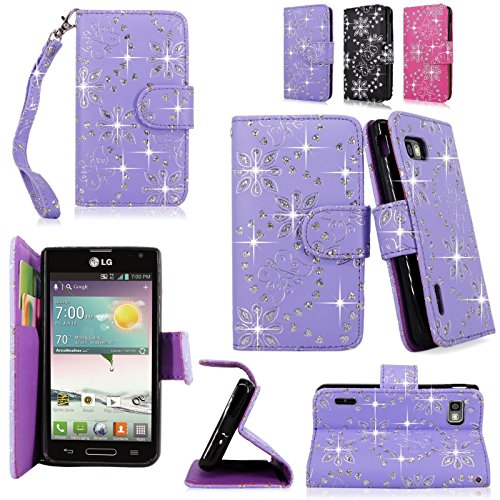 Cellularvilla Wallet Case for LG Optimus F3 LS720 MS659 Pu Leather Wallet Card Flip Open Pocket Case Cover Pouch (Purple Glitter) (Lg F3 Wallet Case compare prices)