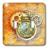 Dream Essence Designs Science Fiction - A Steampunk theme with metal cogs, gears and a lovely golden pocket watch. - Light Switch Covers - double toggle switch (lsp_212827_2)