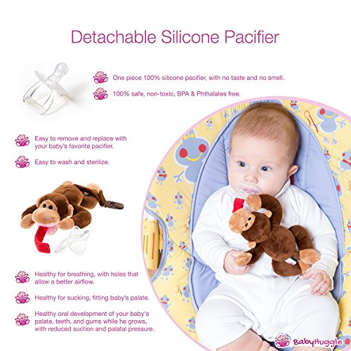 BabyHuggle 4 in 1 Plush Monkey Pacifier – Soft Stuffed Toy with Detachable Silicone Baby Binky, Clip Holder and Squeaky Sound – 100% Non Toxic & Safe – Soothing and Comfortable for a Good Night Sleep