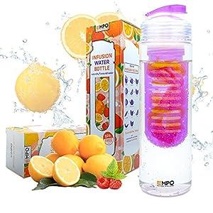 [BPA Free Tritan] EMPO® Fruit Infuser Water Bottle 25oz/700ml - LIFETIME WARRANTY - Purple - Free Recipe eBook - Gift Wrap Available