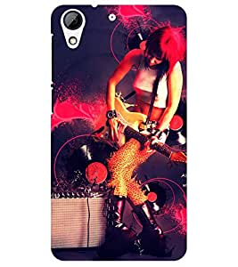 Chiraiyaa Designer Printed Premium Back Cover Case for HTC Desire 728 (music guitar girl playing) (Multicolor)