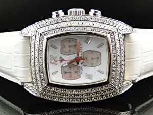 Mens Aqua Master Jojo Jojino Joe Rodeo White Band 40 mm Diamond Watch 93-4 W#26J
