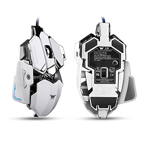 Combaterwing Gaming Mouse 4800 DPI Aluminum Base, 10 Buttons, RGB LED Professional Programmable USB Wired Gaming Mice for PC Laptops Computer Pro Gamer (White)
