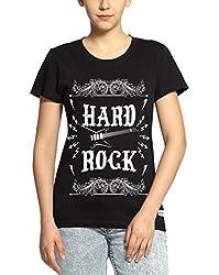 Adro Women's Round Neck Cotton T-Shirt (Black)