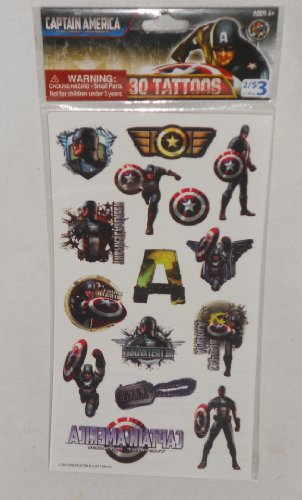 Captain America 30 Tattoos NOT FOR CHILDREN 4 or Younger