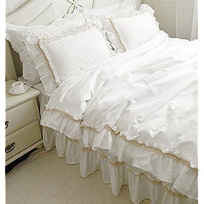 寝具カバーセット 【美味しいケーキ!】綿100%ホワイトのベースにベージュのレース寝具カバーセット (シングル)