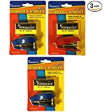 [Bulk Pack] A+ Homework 3 Sets of Mini *Assorted Color* Staplers with 500 Size 10 Staples - Stationery Supplies for the Home, Office, or Classroom (3 Total Mini Staplers and 1500 Total Size 10 Staples)