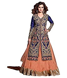 Regalia Ethnic New Collection Peach And Blue Embroidered Net Semistitched Dress Material With Matching Dupatta