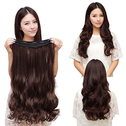 【US Stock】 Magik 3/4 Full Head Hair Extensions Clip Straight Curly w/ 5 Clips, Long (Dark Brown - Curly) (Hair Extentions Full Head compare prices)