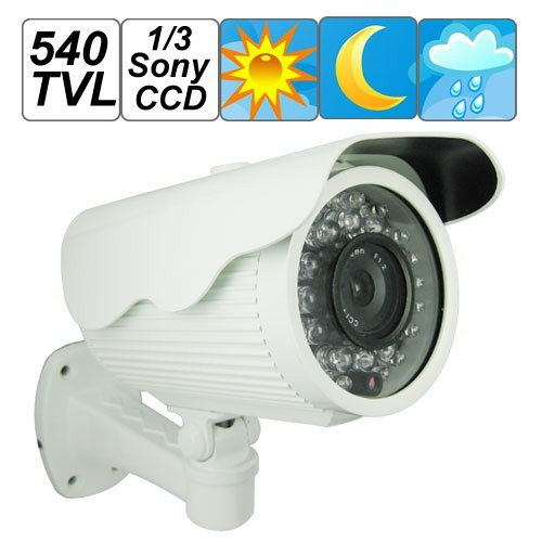 SecurityIng - Quality 540 TV Lines 1/3 Sony CCD Sensor Bullet Weatherproof Color Video CCTV Security Camera, Long IR View Distance Infrared Night Vision, for Indoor / Outdoor / Home / Office Day & Night Security Surveillance Camera