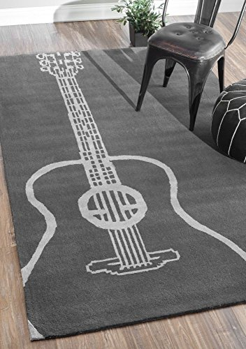 Contemporary Kids 5' x 8' Grey Hand Tufted Area Rug Guitar Keno Collection