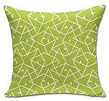 ChezMax Linen Blend Simple Modern Style Geometric Pattern Cushion Cover Cotton Pillowslip Square Decorative Throw Pillow Case 18 X 18